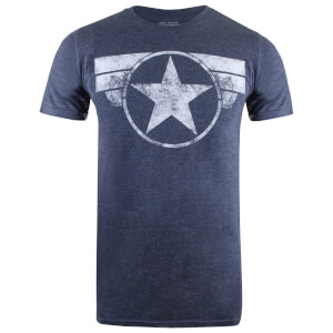 Marvel Men's Cap Logo T-Shirt - Heather Navy