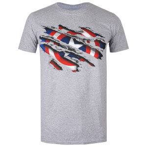 Marvel Men's Captain America Torn T-Shirt - Grey Heather