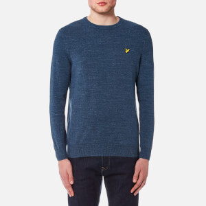 Lyle & Scott Men's Crew Neck Cotton Linen Knitted Jumper - Dark Navy Marl