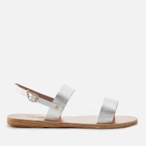 Ancient Greek Sandals Women's Clio Metallic Double Strap Sandals - Metal Silver