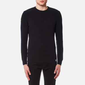 Superdry Men's University Waffle Crew Knitted Jumper - Midnight Grit