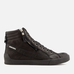 Diesel Men's D-String Plus Leather Hi-Top Trainers - Black