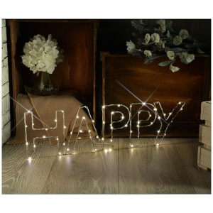 Lyyt Wire Frame Happy Lighting Metal Motif - Warm White