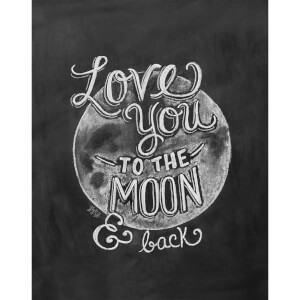 Lily & Val Love You To The Moon Art Print