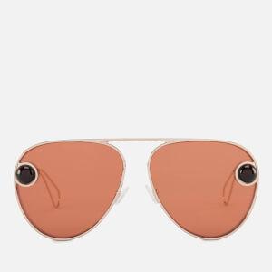 Christopher Kane Women's Aviator Sunglasses - Gold/Gold/Orange