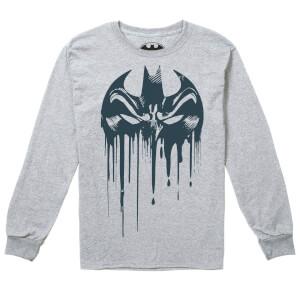 DC Comics Boys' Bat Mask Long Sleeve T-Shirt - Grey Marl
