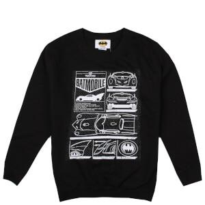 DC Comics Boys' Batmobile Schematics Sweatshirt - Black