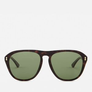 Gucci Men's Tortoise Shell Aviator Sunglasses - Havana/Green