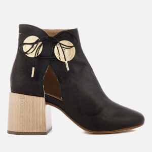 MM6 Maison Margiela Women's Ankle Boot with Cut Out Side and Wooden Block Heels - Black