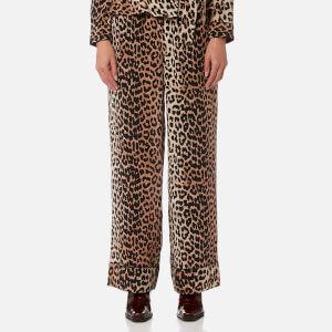 Ganni Women's Fayette Silk Trousers - Leopard