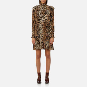 Ganni Women's Fayette Silk Dress - Leopard