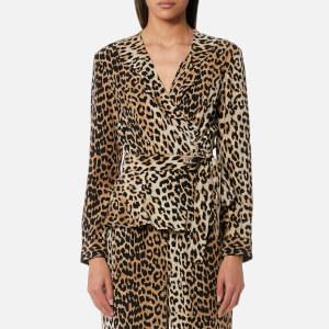 Ganni Women's Fayette Silk Top - Leopard