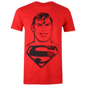 DC Comics Men's Superman Acid Wash T-Shirt - Red