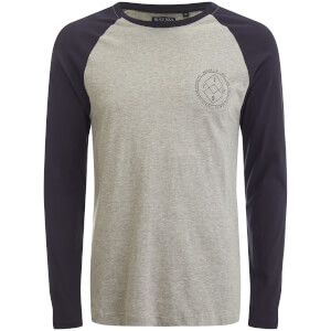 Brave Soul Men's Vermont Raglan Long Sleeve Top - Light Grey Marl/Rich Navy