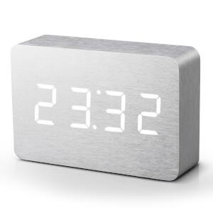 Gingko Brick Click Clock - Aluminium