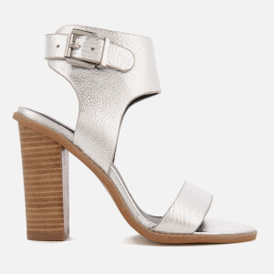 Sol Sana Women's Tiki II Leather Heeled Sandals - Silver