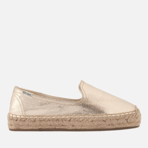 Soludos Women's Platform Smoking Slipper Espadrilles - Pale Gold