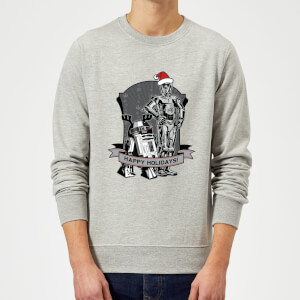 Star Wars Happy Holidays Droids Grey Christmas Sweatshirt
