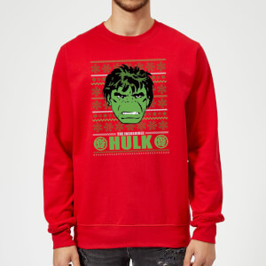 Marvel Comics The Incredible Hulk Retro Face Red Christmas Sweater