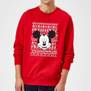 Disney Mickey Mouse Christmas Mickey Face Red Christmas Sweatshirt