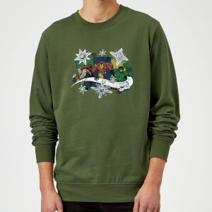 Marvel Comics Thor Ironman Hulk Snowflake Green Christmas Sweatshirt