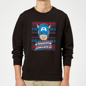Marvel Comics Captain America Christmas Knit Black Christmas Sweatshirt