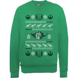 Star Wars Yoda Face Knit Green Christmas Sweatshirt