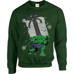 Marvel Comics The Incredible Hulk Christmas Present Green Christmas Sweatshirt