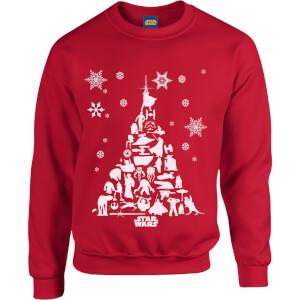 """Sudadera Navidad Star Wars """"Árbol de Navidad Personajes"""" - Hombre/Mujer - Rojo"""