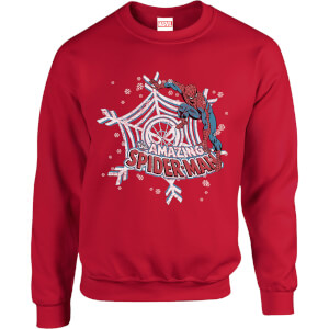 Marvel Comics The Amazing Spider-Man Snowflake Web Red Christmas Sweatshirt