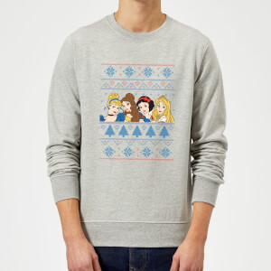 Disney Princess Christmas Princess Faces Grey Christmas Sweatshirt