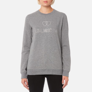 Love Moschino Women's Sequin Logo Sweatshirt - Grey