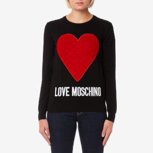 Love Moschino Women's Heart Logo Jumper - Black