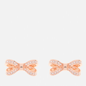 Ted Baker Women's Olitta Mini Opulent Pavé Bow Earrings - Rose Gold/Crystal