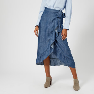 Gestuz Women's Cyndie Denim Skirt with Tie Waist And Frill Detail - Denim Blue