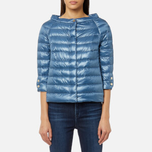 Herno Women's Cape Woven Jacket with 3/4 Sleeves - Blue