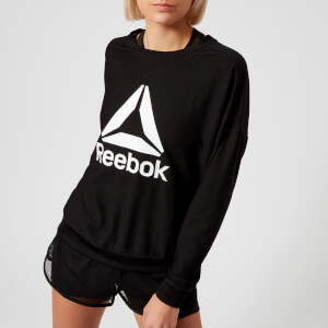 Reebok Women's Mesh Crew Neck Sweatshirt - Black