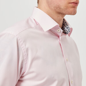 Eton Men's Slim Fit Micro Check With Palm Print Trim Shirt - Pink/Red