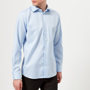 Eton Men's Contemporary Fit Extreme Cut Away Gingham Check Shirt - Light Blue
