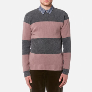 Oliver Spencer Men's Blenheim Crew Neck Jumper - Grey/Pink