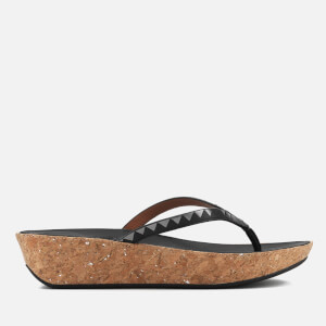 FitFlop Women's Linny Zig Zag Mirror Wedged Toe Post Sandals - Black/Pewter