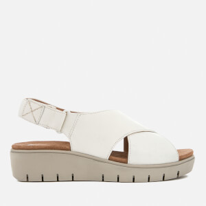 Clarks Women's Un Karely Hail Leather Cross Strap Flatform Sandals - White