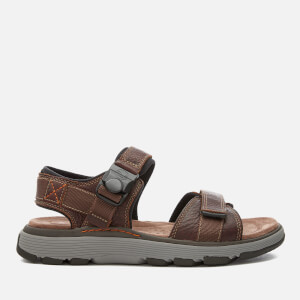 Clarks Men's Un Trek Part Leather Sandals - Dark Tan