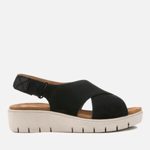 Clarks Women's Un Karely Hail Leather Cross Strap Flatform Sandals - Black