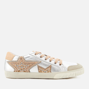 Ash Women's Magic Metallic Leather Low Top Trainers - Silver/Beige/Silver