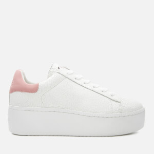 Ash Women's Cult Cracked Leather Flatform Trainers - White/Pink