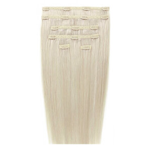 "Beauty Works 18"" Double Hair Set Clip-In Extensions – Pure Platinum 60 a"