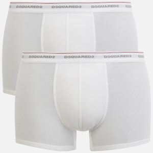Dsquared2 Men's Jersey Cotton Stretch Trunk Twin Pack Boxers - White