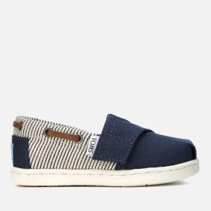 TOMS Toddlers' Biminis Canvas Slip-On Pumps - Navy/Stripes
