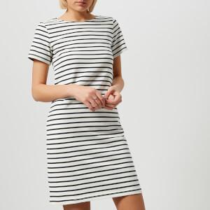 Joules Women's Riviera Short Sleeve Jersey Dress - Cream Navy Stripe